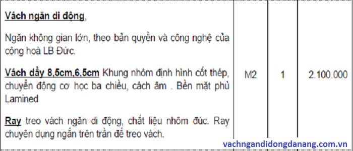 báo giá vách ngăn di động tại Đà Nẵng