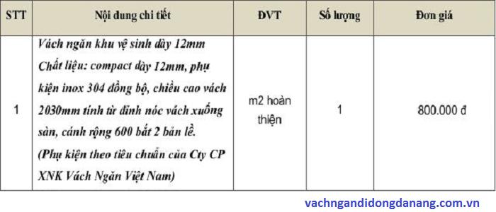 bảng báo giá vách ngăn vệ sinh 12mm